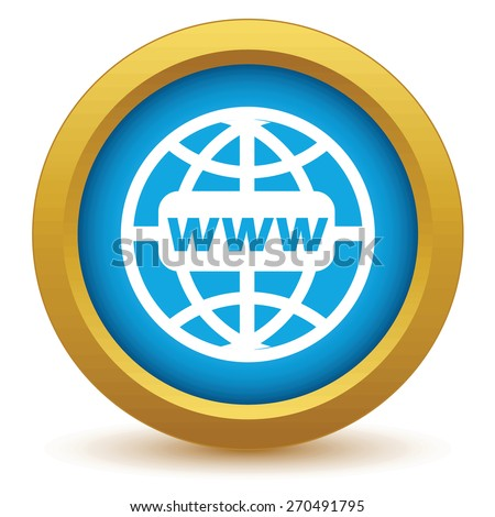Gold www world icon on a white background. Vector illustration - stock vector