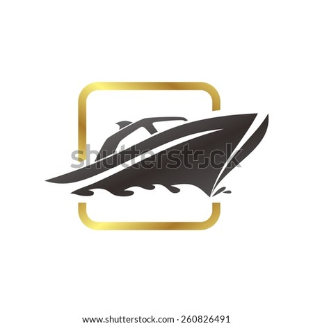 gold yacht boat logo template - stock vector