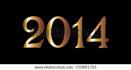 gold year 2014 vector art
