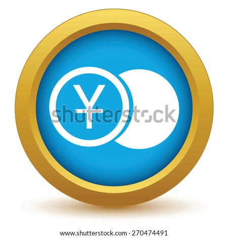 Gold yen coin icon on a white background. Vector illustration