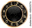 Gold zodiacal circle with zodiac sign - stock