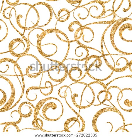 Golden abstract pattern on white background.  Vector illustration. - stock vector