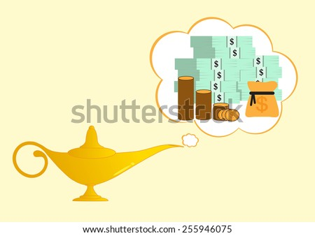 golden aladdin lamp make money on background  - stock vector