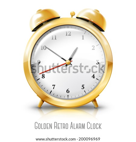 Golden alarm clock isolated on white background. Vector - stock vector