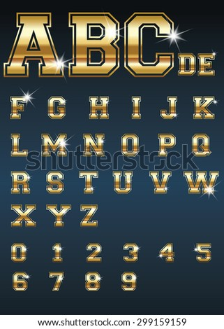 Golden Alphabet and Numbers. Stock Vector.
