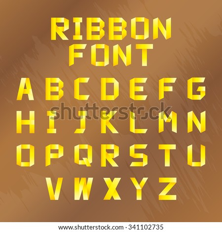 Golden alphabet folded of ribbon paper colour. Set from eight different colors. A, B, C, D, E, F, G, H, I, J, K, L, M, N, O, P, Q, R, S, T, U, V, W, X, Y, Z. Vector illustration. - stock vector