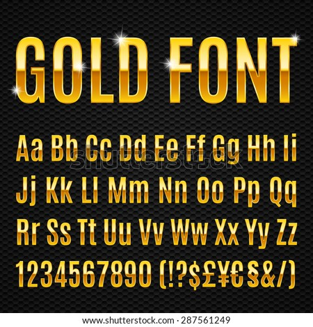 Golden alphabet letters numbers and signs currency