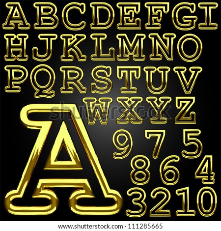 golden alphabet  made in vector - stock vector