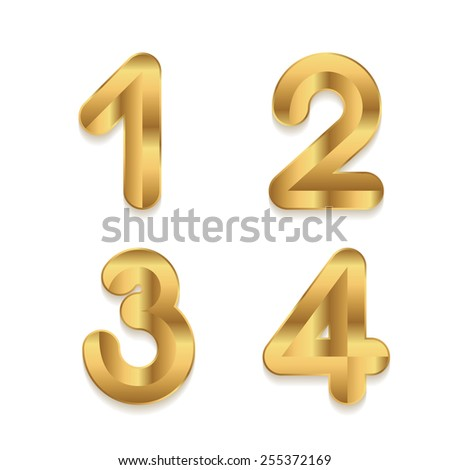 Golden alphabet. Set of metallic 3d numbers. Vector digits 1 2 3 4. - stock vector