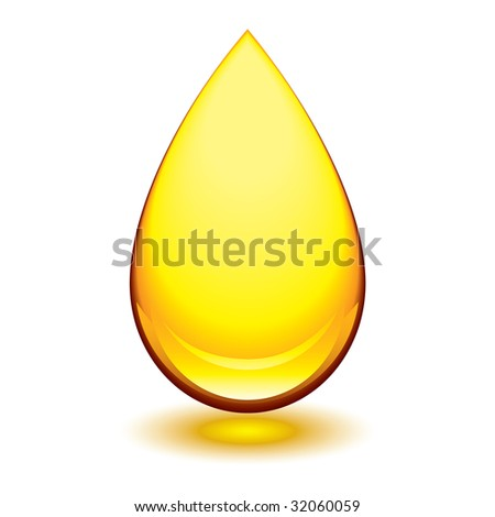 Golden amber icon with tear droplet shape and shadow glow - stock vector