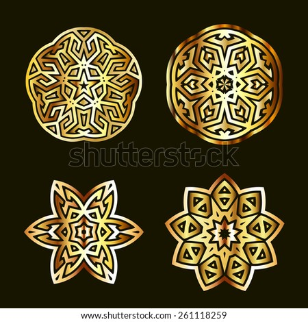 Golden ancient muslim motif radial ornament elements - stock vector