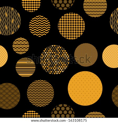 Golden and black patterned circles geometric seamless pattern, vector - stock vector