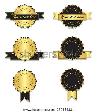 Golden and black vintage badges with ribbon - stock vector