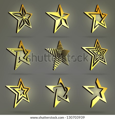 Golden and glossy three-dimensional point star collection of emblem icon design elements, eps10 vector set of nine - stock vector