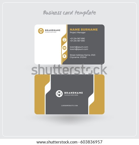 Golden Gray Business Card Print Template Stock Vector - Business card print out template