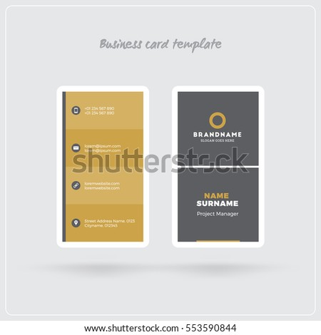 Golden gray vertical business card print stock photo photo vector golden and gray vertical business card print template double sided personal visiting card with colourmoves