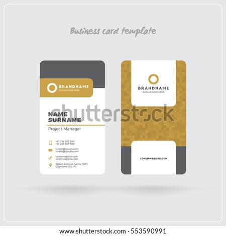 Golden gray vertical business card print stock vector 553590844 golden and gray vertical business card print template double sided personal visiting card with flashek Images
