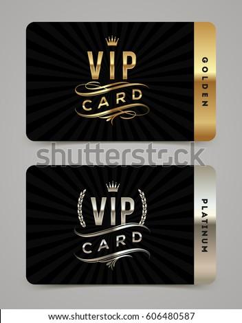 Golden Platinum Vip Card Template Type Stock Vector ...
