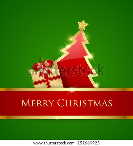 Golden and red Christmas tree and gift decoration on green background - stock vector