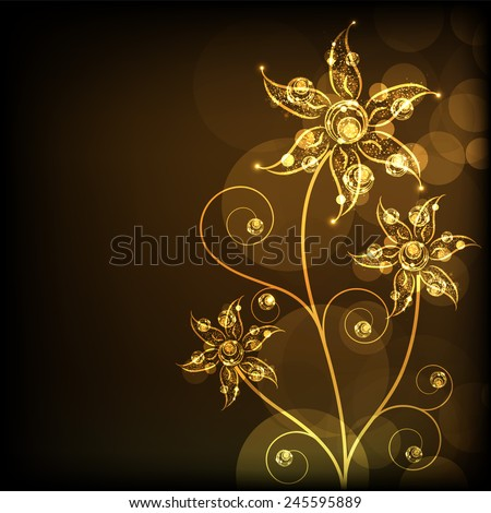 Golden and shiny floral design on brown background.  - stock vector