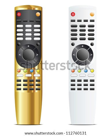 Golden and white remote control. Isolated vector illustration - stock vector