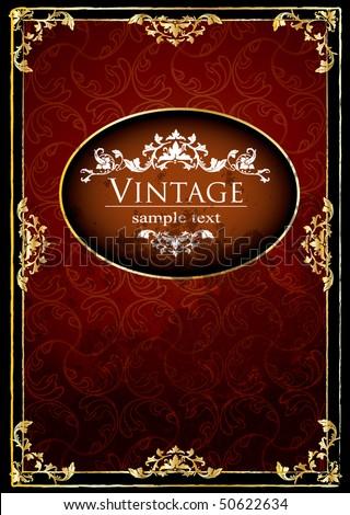 Golden, antique cover - stock vector