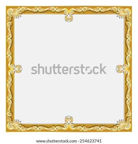 Golden antique frame for your text or picture - stock vector