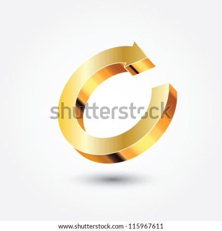 Golden arrow icon - stock vector