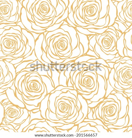 Golden Art Deco Floral Seamless Pattern With Roses Vector Hand Drawn Wallpaper