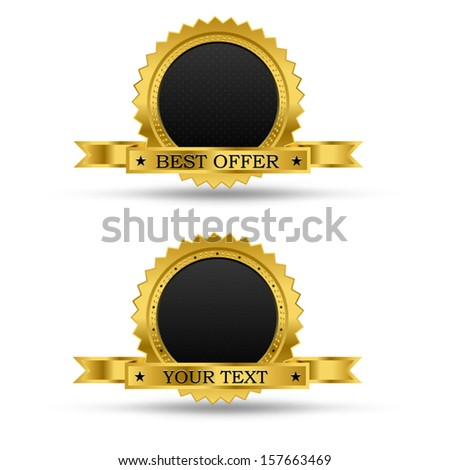 Golden award badge, with blank middle and ribbon, for text input, vector - stock vector