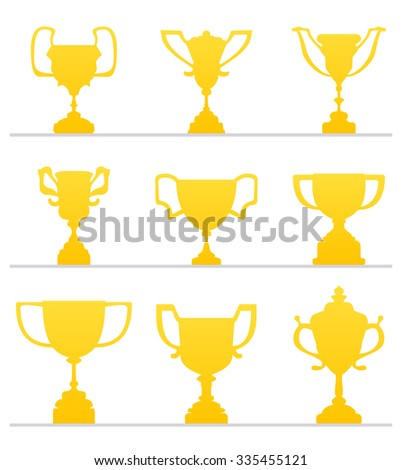 Golden Award Cup. Flat Style Achievement Icon. Prize for winner. Vector Illustration.