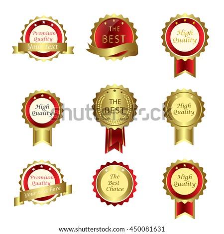 golden award set label collection badge stock vector 450081631