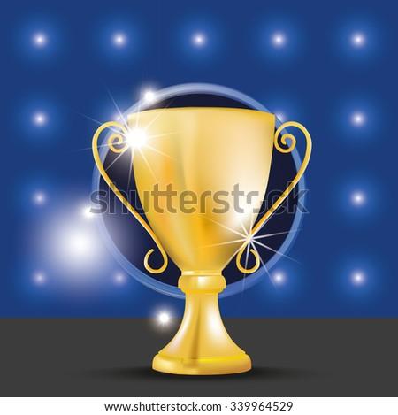 Golden award trophy. Vector illustration - stock vector