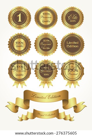 Golden awards and ribbons, vector illustration - stock vector