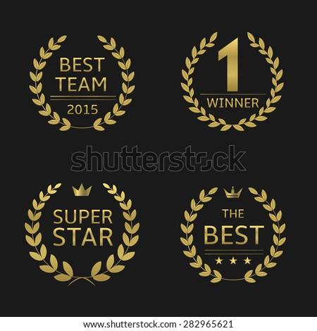 Golden awards laurel wreaths: best team, winner, super star, best. - stock vector