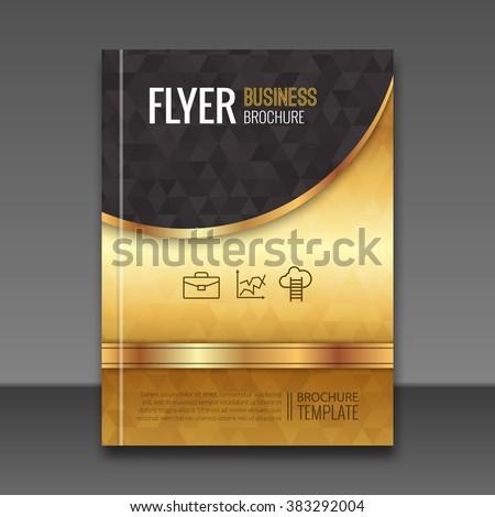 Golden Background Flyer Template Luxury Brochure Stock Vector