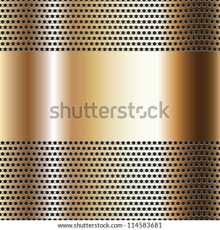 Golden background perforated sheet, vector background, 10eps - stock vector