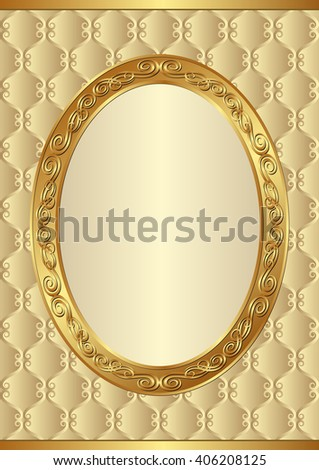 golden background with antique frame - stock vector