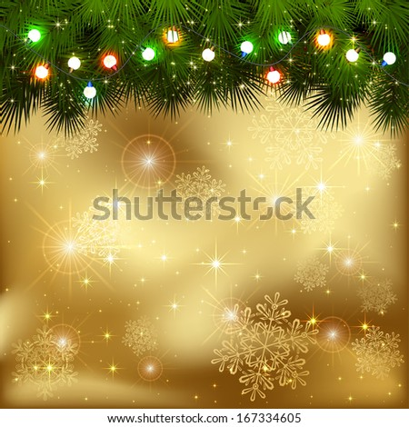Golden background with branches of Christmas tree and multicolored light bulbs, illustration. - stock vector