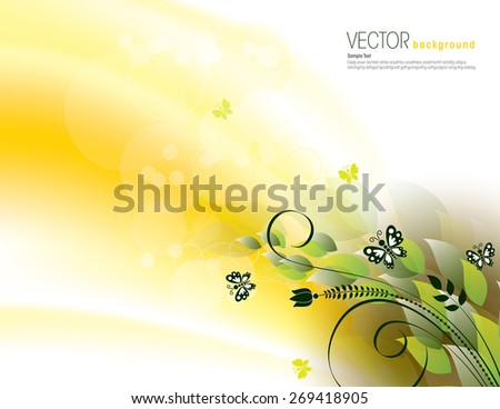 Golden Background with Bright Leaves and Butterflies. - stock vector