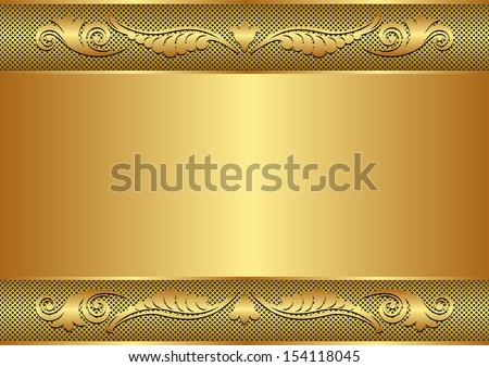 golden background with floral border and copy space - stock vector