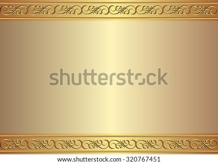 golden background with ornament - stock vector