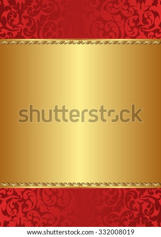 golden background with red ornaments - stock vector