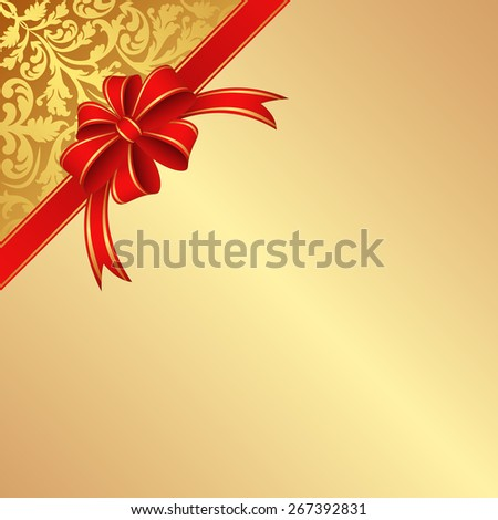 golden background with ribbon and bow - stock vector