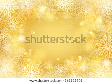Golden background with snowflakes border - stock vector