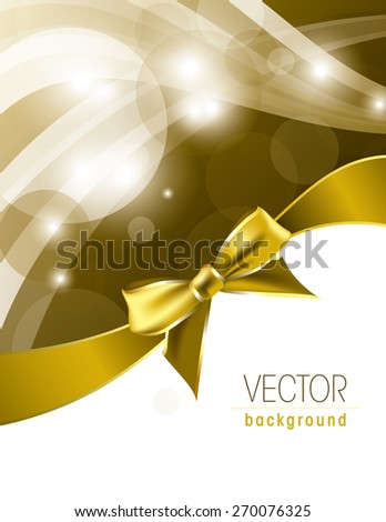 Golden background with sparkles and a bow. - stock vector
