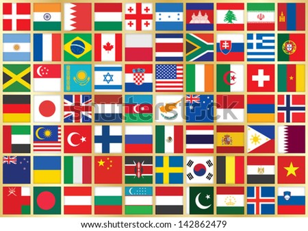 golden background with square flag icons - stock vector
