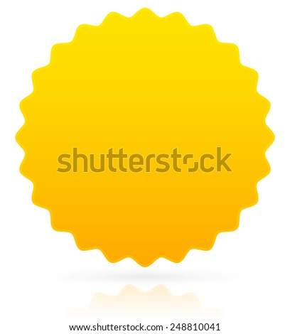 Golden badge / Star burst with reflection and shadow (eps10) - stock vector