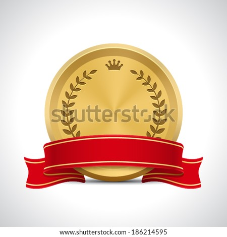 Golden Badge with Ribbon - stock vector