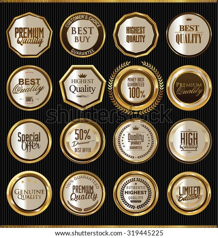 Golden badges collection - stock vector